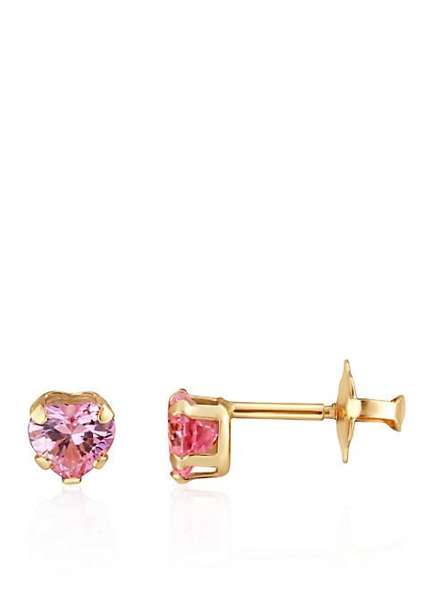 Cubic Zirconia Baby Stud Earrings in 14K Yellow Gold
