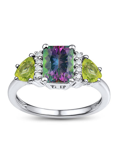 1.9 ct. t.w. Lab Created White Sapphire, Peridot, and Mystic Fire Topaz Ring in Sterling Silver