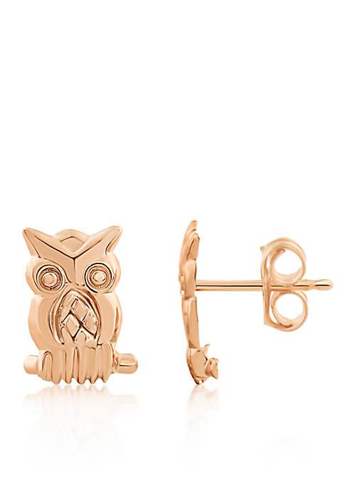 Owl Button Earrings in 14K Yellow Gold