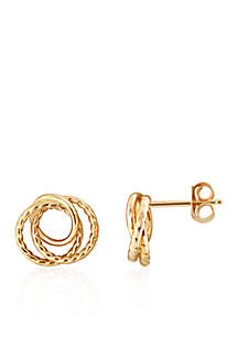 14k Yellow Gold Rope Knot Earrings