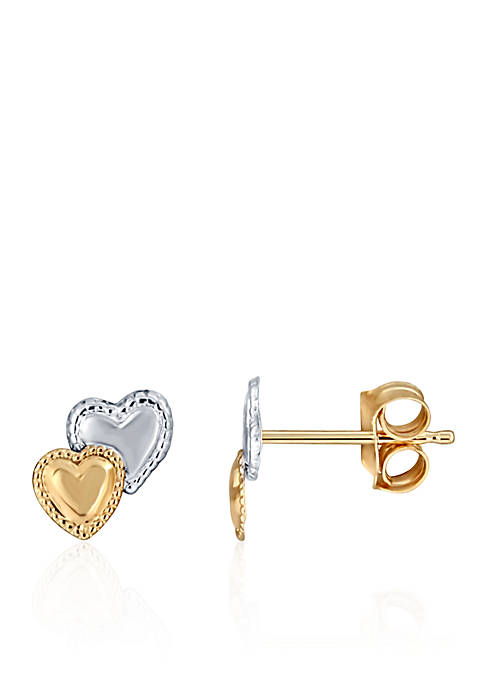 Belk & Co. Baby Two Heart Stud Earrings