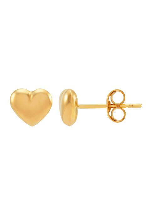 Heart Button Earrings in 14K Yellow Gold