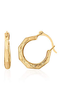 Baby Facet Hoop Earrings in 14K Yellow Gold