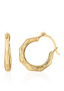 Belk & Co. Baby Facet Hoop Earrings in 14K Yellow Gold