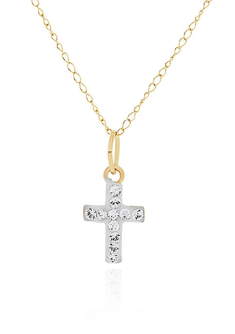 Belk & Co. Baby White Crystal Cross Pendant