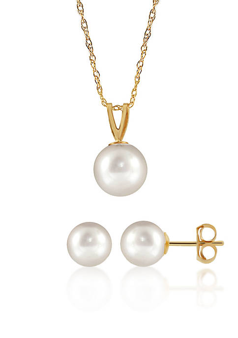 Belk & Co. Freshwater Pearl Necklace and Earrings