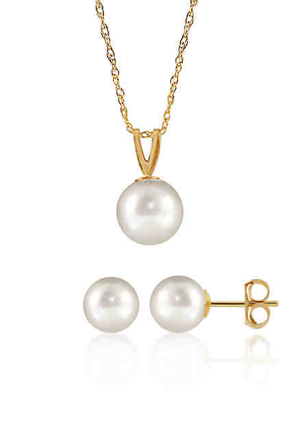 Belk Co Freshwater Pearl Necklace And Earrings 2 Piece Set In 14k Yellow