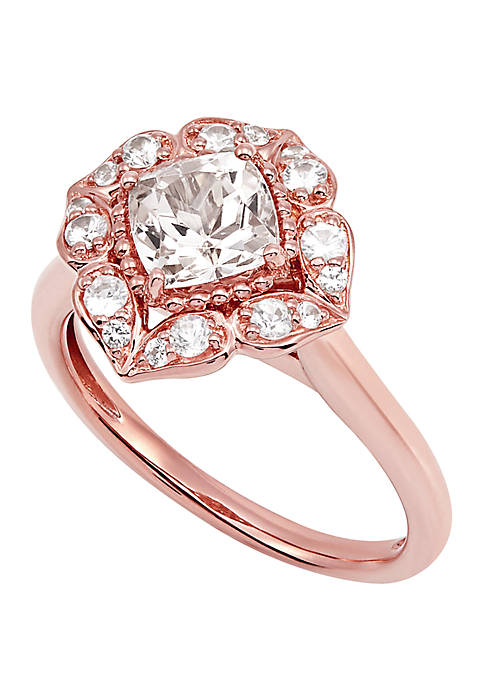 Morganite and White Sapphire Ring in 10K Rose Gold