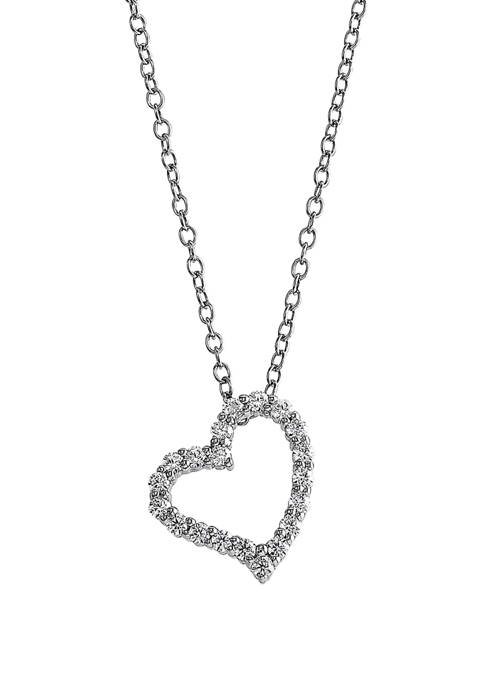 1/4 ct. t.w. Diamond Heart Pendant Necklace in Sterling Silver
