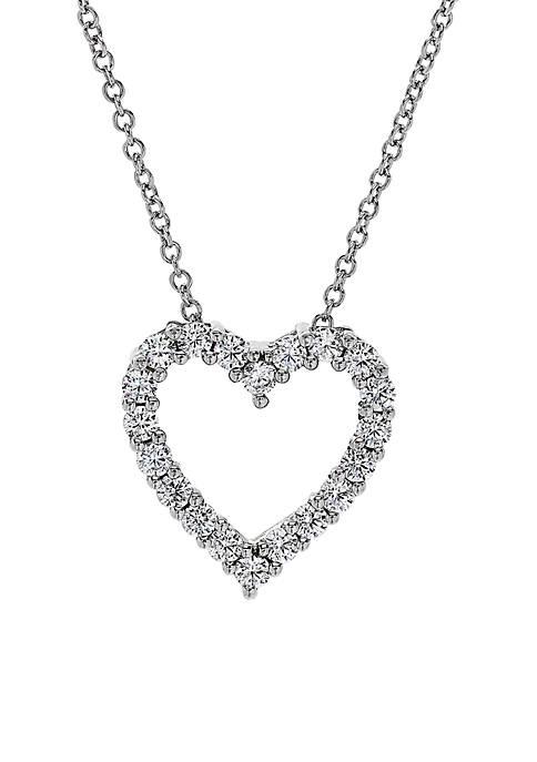 1/2 ct. t.w. Diamond Heart Pendant Necklace in 10k White Gold