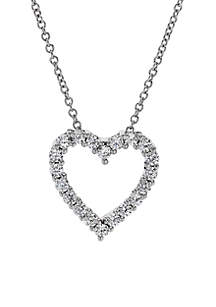 1/2 ct. t.w. Diamond Heart Pendant Necklace in 10k White Gold