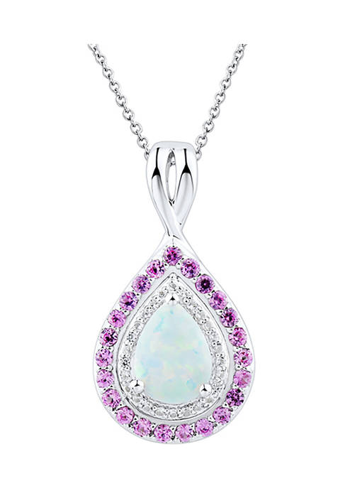Lab Opal, Lab Pink Sapphire and Lab White Sapphire Pendant Necklace in Sterling Sliver