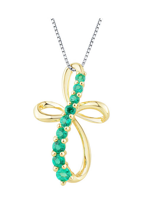 1/3 ct. t.w. Emerald Pendant Necklace in 10K Yellow Gold