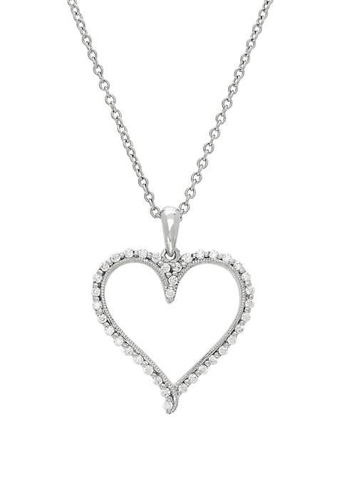 1/4 ct. t.w. Diamond Heart Pendant in 10k White Gold Chain