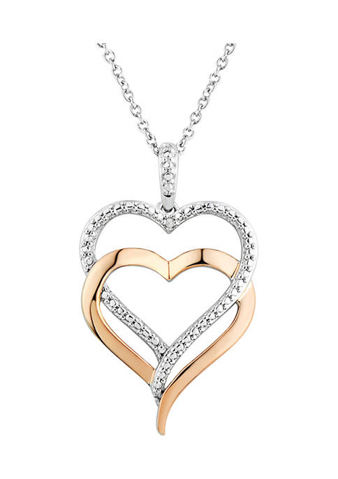 Diamond Double Heart Pendant Necklace in Sterling Sliver