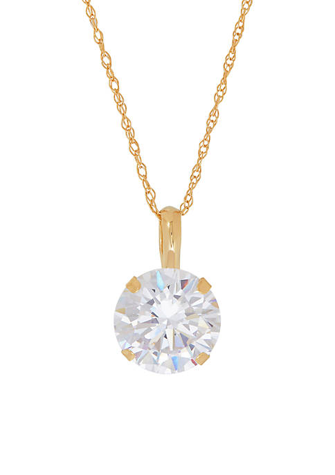Belk & Co. 8mm Created White Sapphire Pendant