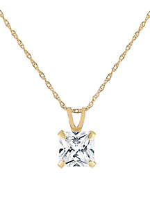Belk & Co. Created White Sapphire Square Pendant necklace in 10k Yellow Gold