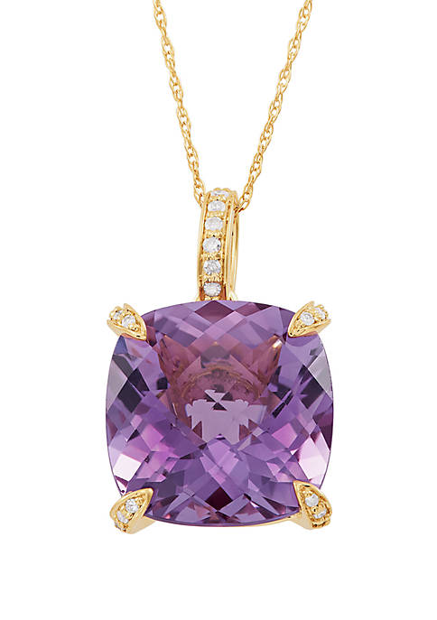 Amethyst Pendant with 0.08 ct. t.w. Diamond Accent Necklace in 10k Yellow Gold