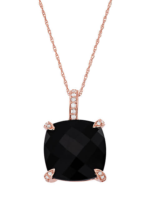 Onyx Pendant with 0.08 ct. t.w. Diamond Necklace in 10k Rose Gold