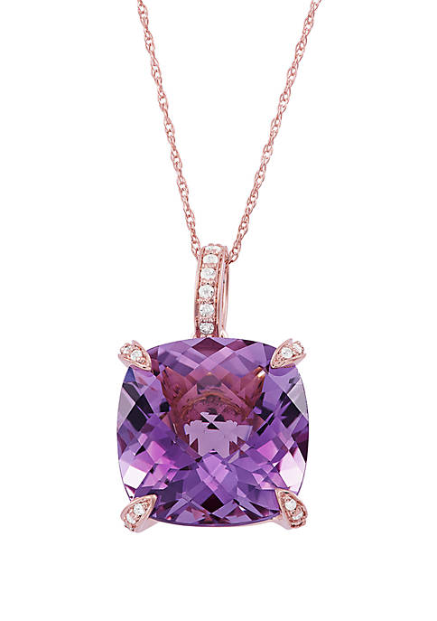 Pink Amethyst Pendant with 0.08 ct. t.w. Diamond Necklace in 10k Rose Gold