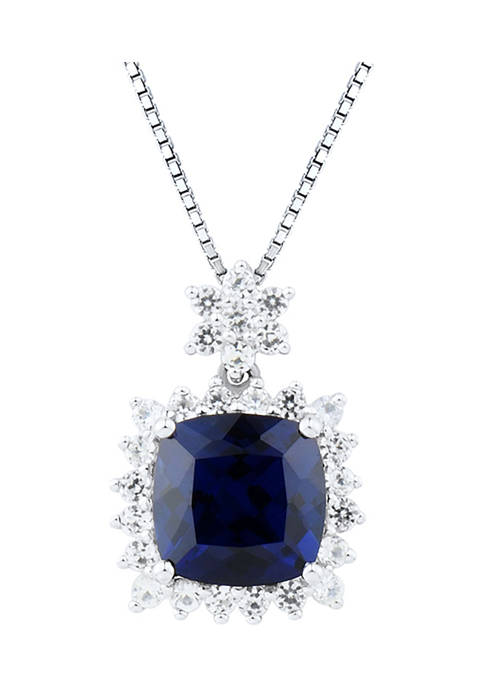 3.25 ct. t.w. Lab Created Sapphire and Lab Created White Sapphire Pendant Necklace in Sterling Silver