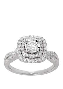 Belk & Co. 3/4 ct. t.w. Double Halo Diamond Bridal Ring in 10k White Gold