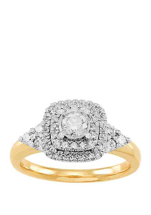 5/8 ct. t.w. Halo Diamond Bridal Ring in 10k Yellow Gold