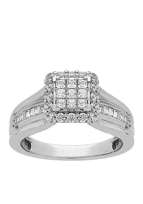 10K White Gold 3/4 c.t. t.w. Diamond Engagement Ring
