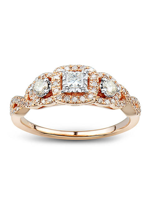 1/2 ct. t.w. Champagne and White Diamond Engagement Ring in 14K Rose Gold