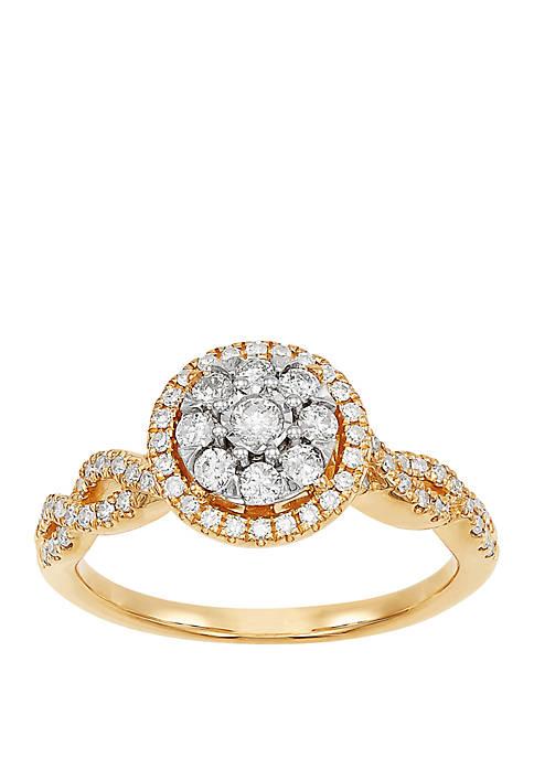 1/2 ct. t.w. Round Diamond Bridal Ring in 10k Yellow Gold