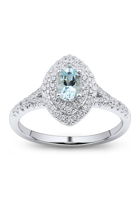 1/3 ct. t.w. Diamond and Aquamarine Ring in 14K White Gold