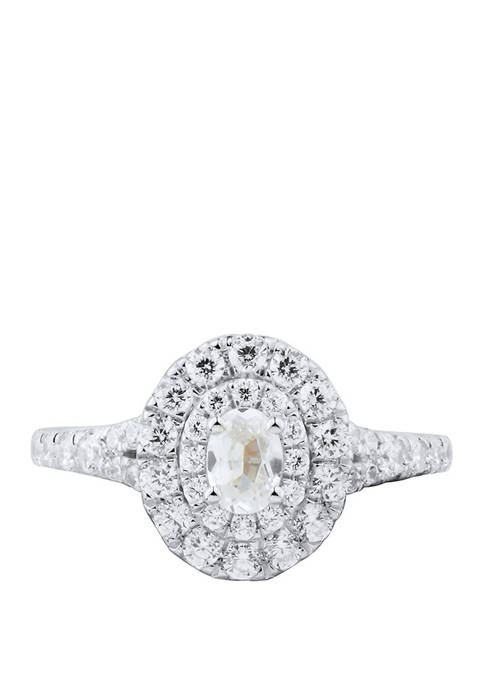My Forever 1 ct. t.w Oval & Round Diamond Engagement in 14k White Gold