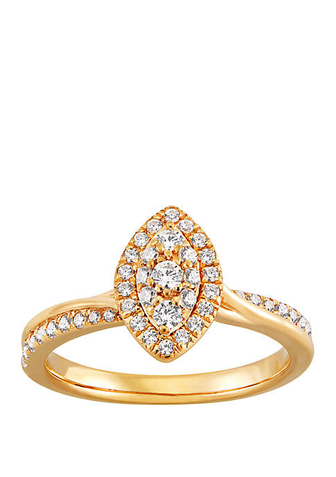 1/2 ct. t.w. Diamond Marquise Ring in 10k Yellow Gold