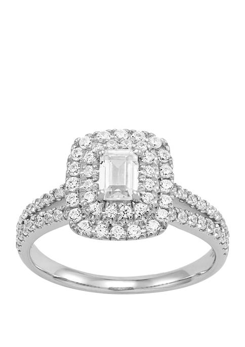 My Forever 1 ct. t.w Emerald Cut & Round Diamond Engagement in 14k White Gold