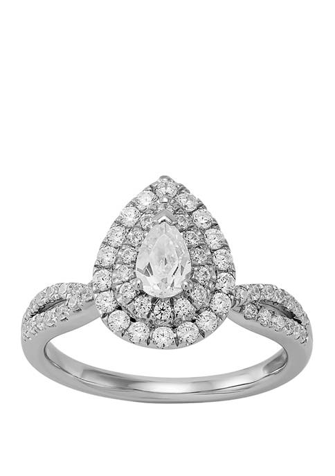 My Forever 1 ct. t.w Pear & Round Diamond Engagement in 14k White Gold