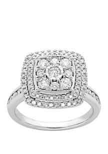 Belk & Co. 1 ct. t.w. Diamond Composite Double Halo Ring in 10k White Gold