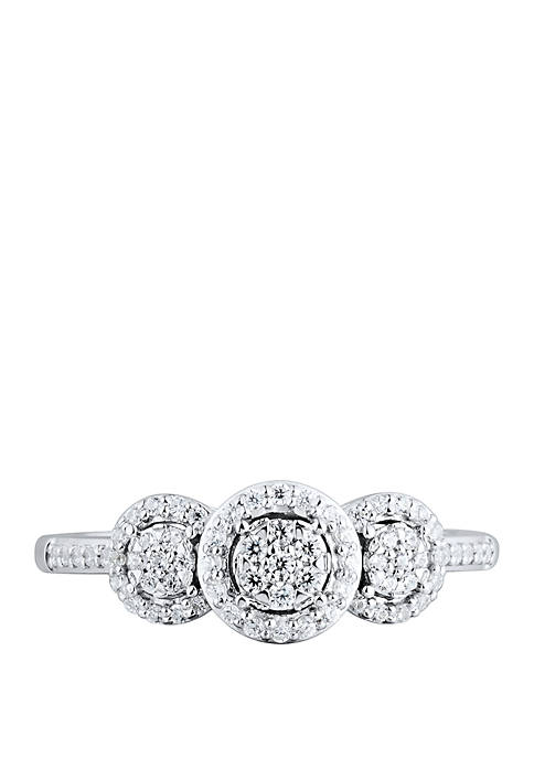 1/4 ct. t.w. Diamond 3 Stone Ring in Sterling Silver