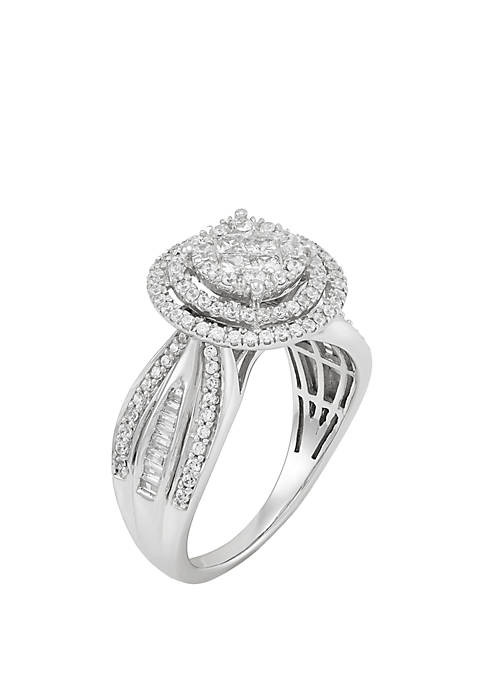 1 ct. t.w. Diamond Ring Set in Sterling Silver
