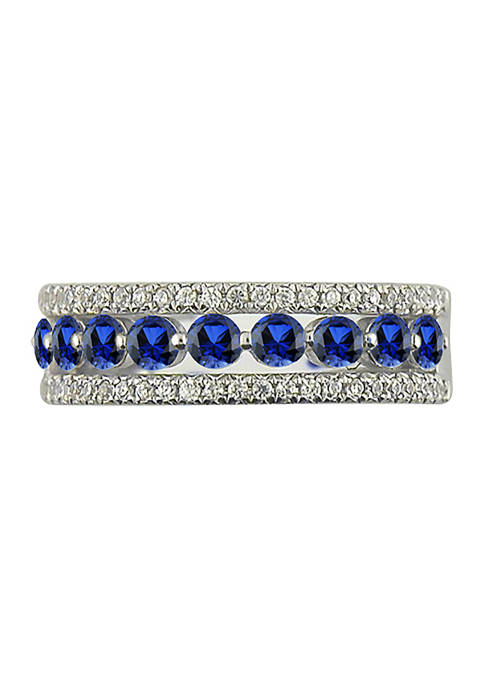 1/4 ct. t.w Diamond and Sapphire Anniversary Ring in 14K White Gold