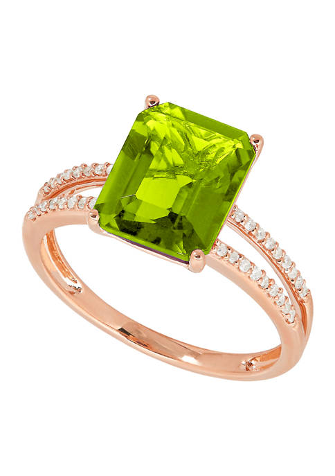1/10 ct. t.w. Diamond and 4 ct. t.w. Green Topaz Ring in 14K Rose Gold