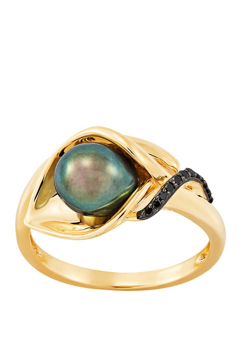 Oval Black Pearl Ring