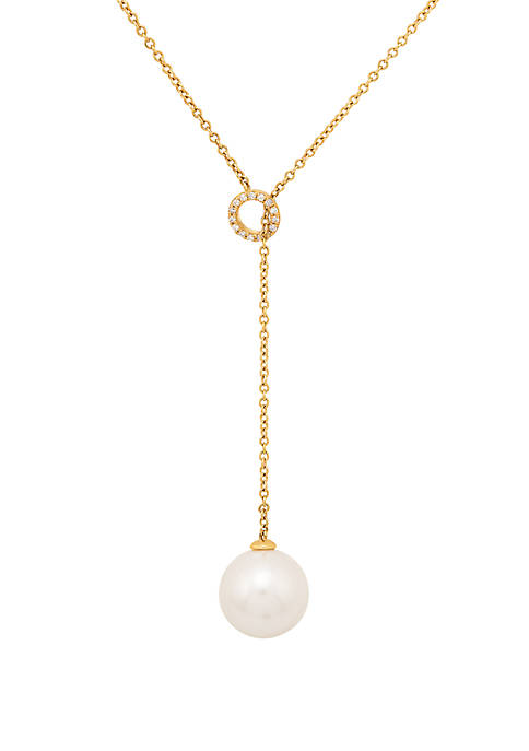 13 mm Pearl and 1/10 ct. t.w. Diamond Y Necklace in 14k Yellow Gold