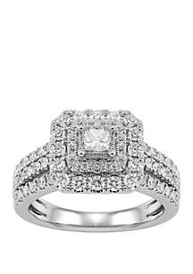 Belk & Co. 1 ct. t.w. Round Halo Diamond Bridal Ring in 10k White Gold