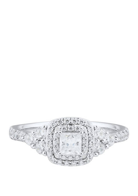 My Forever 1 ct. t.w. Princess & Round Diamond Engagement Ring in 14k White Gold