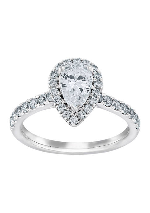 1.25 ct. t.w. Pear Diamond Halo Ring in 14K White Gold