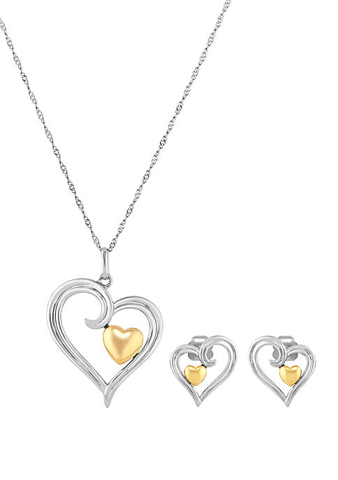 10 Karat Gold Earrings and Heart Pendant Set