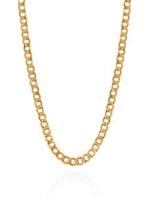 Bevelled Curb Chain Necklace in 10k Yellow Gold