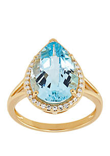 Belk & Co. Blue Topaz Ring with 1/6 ct. t.w. Diamond Accent in 10k Yellow Gold