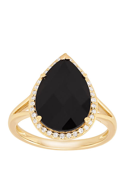 Onyx Ring with 1/6 ct. t.w. Diamond in 10k Yellow Gold