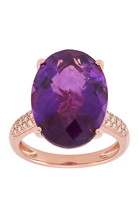 Amethyst Ring with 1/6 ct. t.w. Diamond in 10k Rose Gold